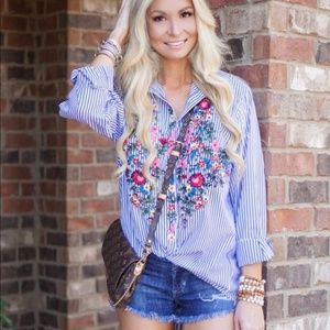 Shein embroidered striped long sleeve button down